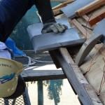 日枝神社葺替工事 軒の敷平と瓦座の合端作業