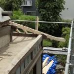 H邸葺替工事 新しい隅木の取付